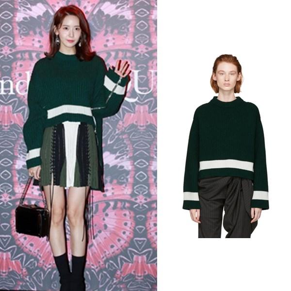【允儿同系列】Alexander McQueen 绿色条纹圆领毛衣 $1650(约11428元)
