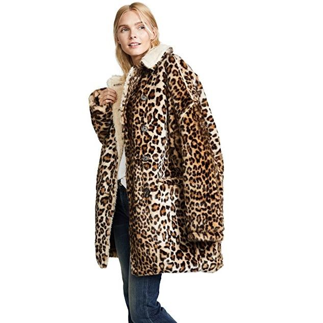 动物皮纹潮流来袭!R13 Leopard Hunting 仿皮毛大衣 $671.25(约4781元)