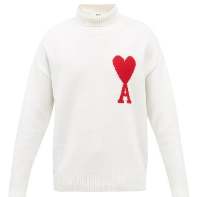 定价优势!AMI Paris 白色大爱心高领毛衣 码全<br />€360(约2760元)