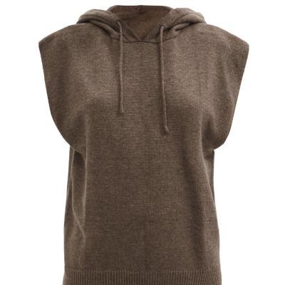 BUG价!Frankie Shop 深棕色Juno垫肩无袖连帽毛衣 码全<br />€89(约681元)