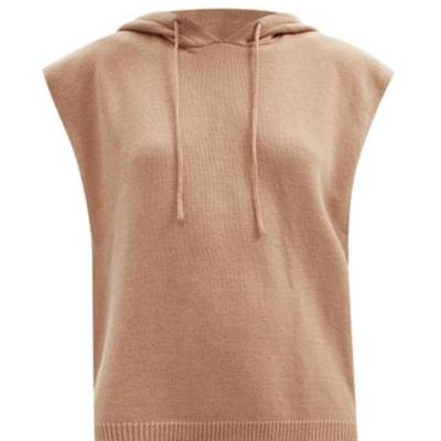BUG价!Frankie Shop 驼色Juno垫肩无袖连帽毛衣 码全<br />€89(约681元)